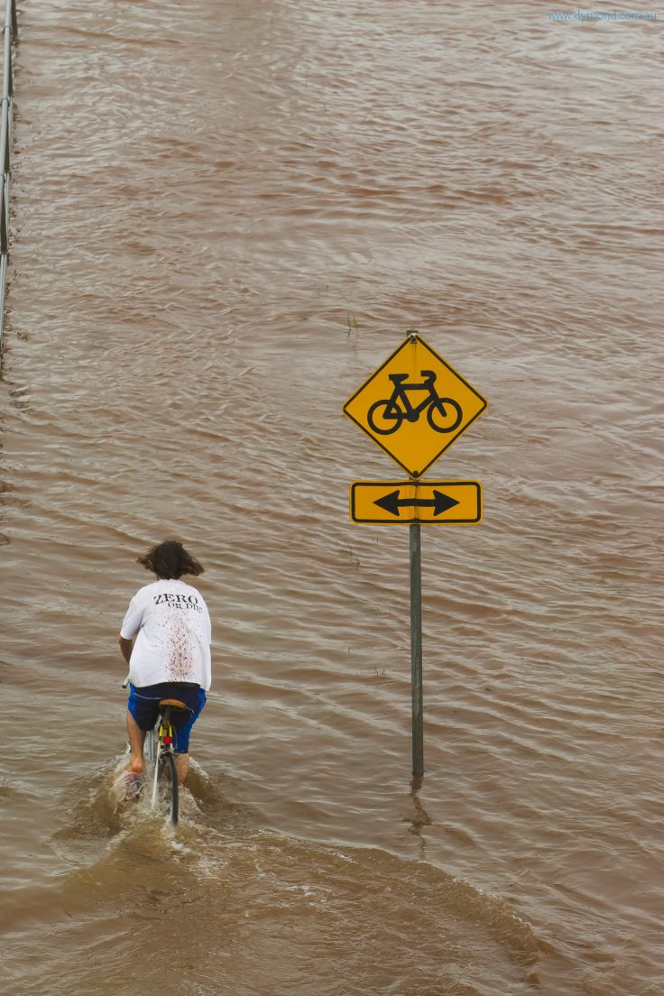 queensland floods flood bicycle floodwaters